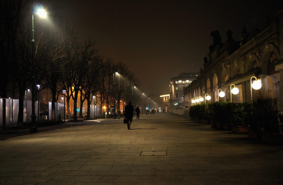 Night street of a city  | city, night, dark, people, lanterns, street, trees, buildings, light, cube