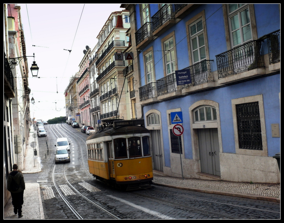 Tramway goes down the hill
