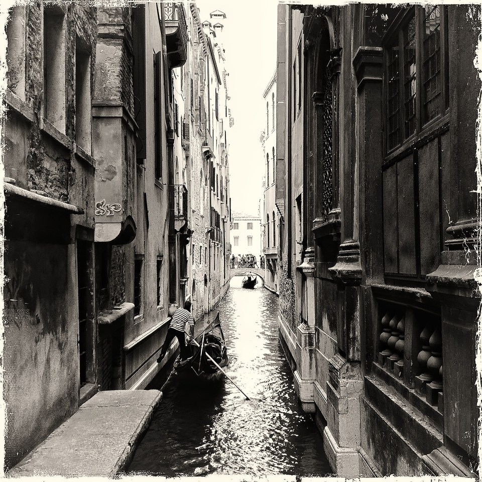 Street in Venice | city, Venice, Italy, black-and-white, water, canal, houses, boat, man, narrow