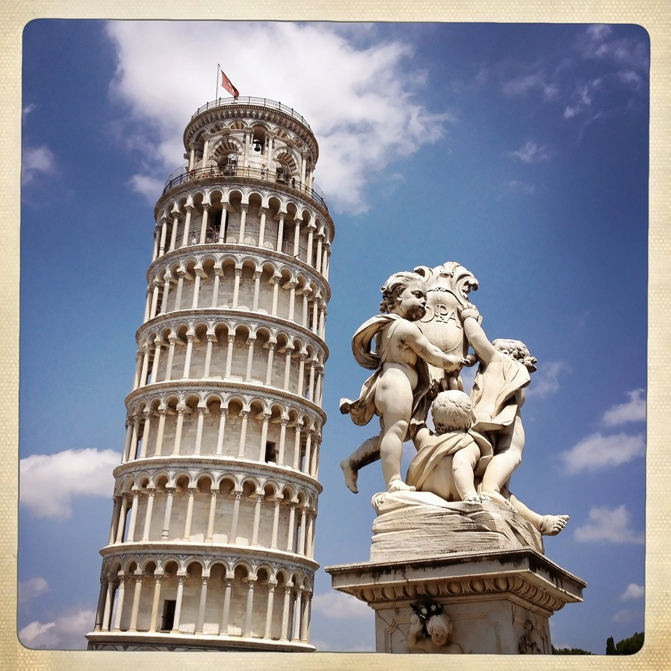 Tower of Pisa and angels