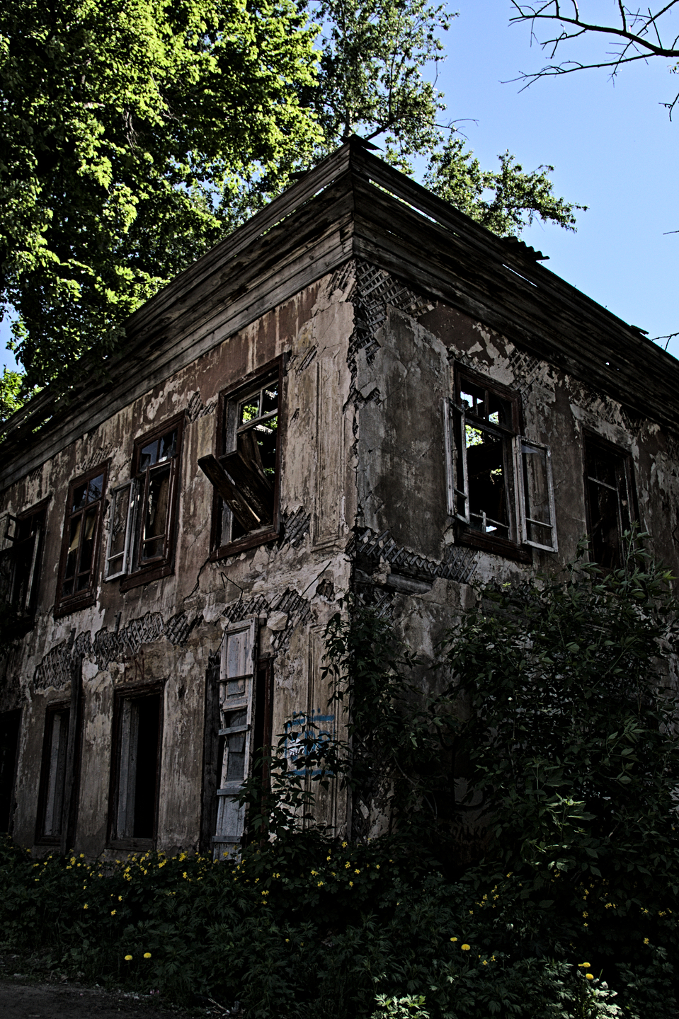 Deserted old house  | city, deserted, house, sky, sunny day, tree, green, flowers, old, summer