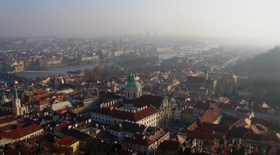 Autumn in Prague | Prague, Czech Republic, sity, fog, snog, houses, temple