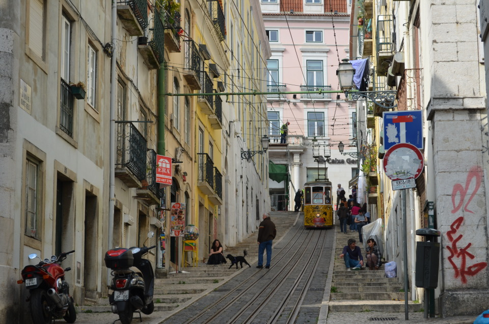 Lisbon funicular | city, Lisbon, funicular, cliff railway, Portugal, street, people, road signs, houses, scooters