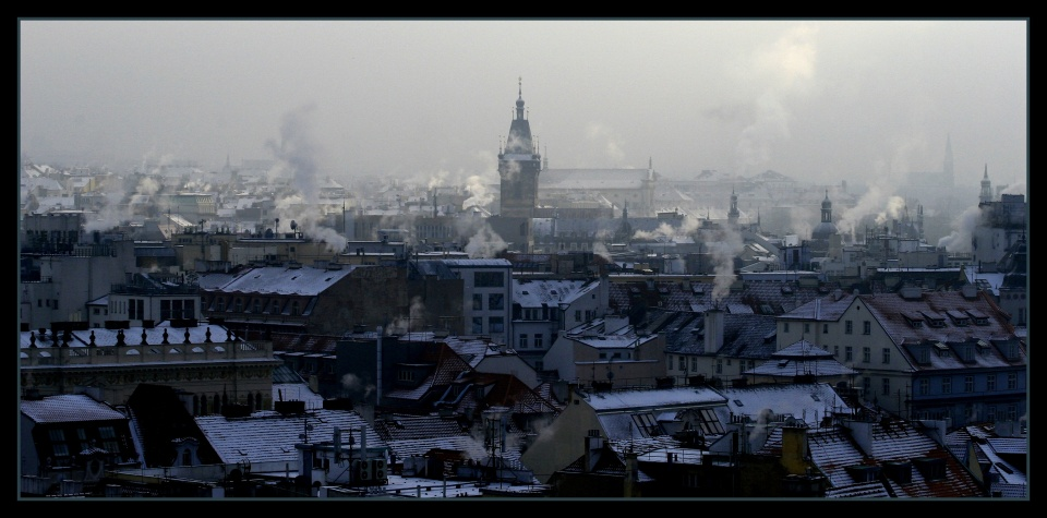 Prague in winter | city, winter, snow, Prague, Czech Republic, cold, houses, roofs, smoke, sky
