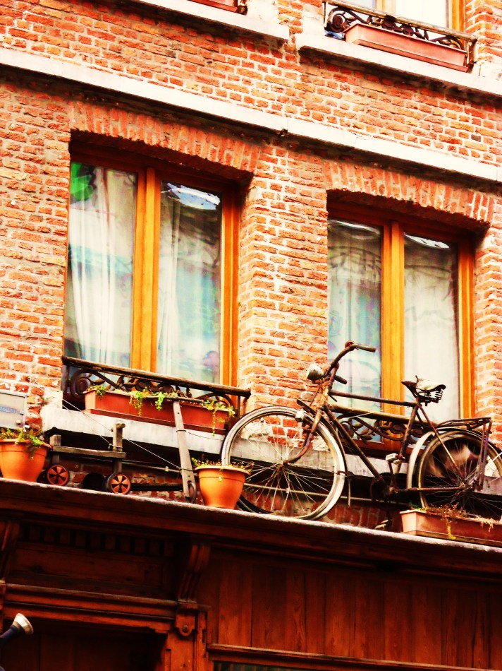 Old bicycle before the window
