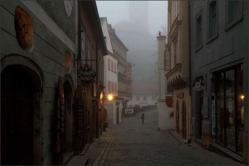 Foggy morning in Crumlaw, Czechia