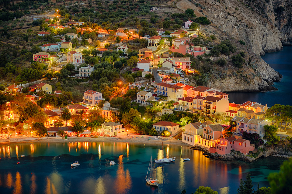 Evening Assos, Turkey | Assos, Turkey, city, houses, evening, lights, water, boats, trees, bluff