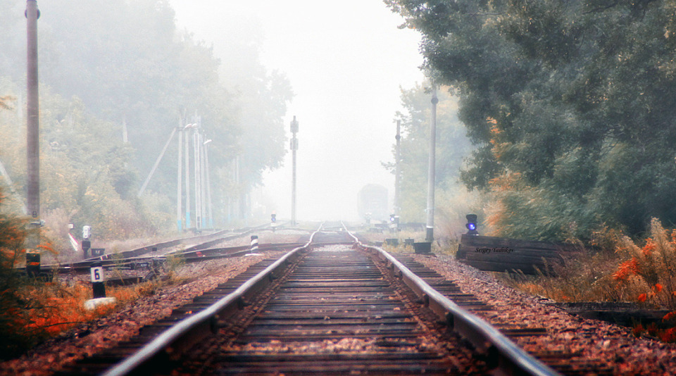 Railway to nowhere | railway, fog, nowhere, smog