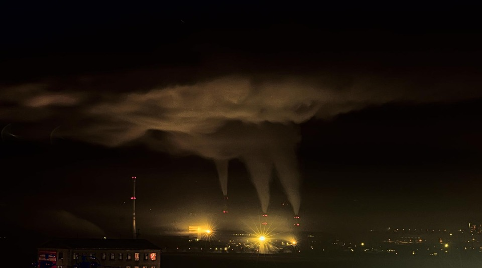 Heat electropower station in the night