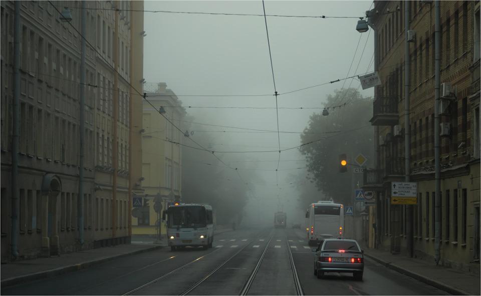 street in fog