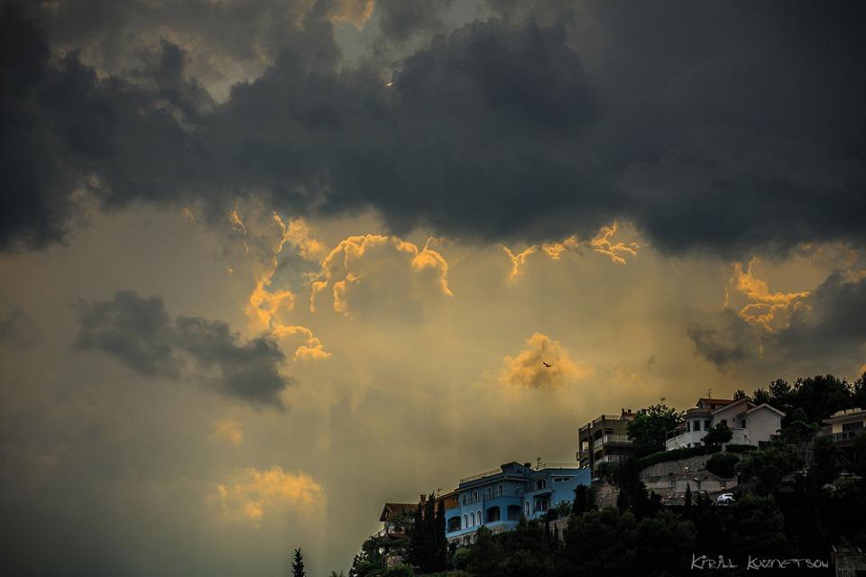Pietra Ligure, Italy | Pietra Ligure, Italy, sky, clouds, bird, dark, sunshine, hill, trees, houses