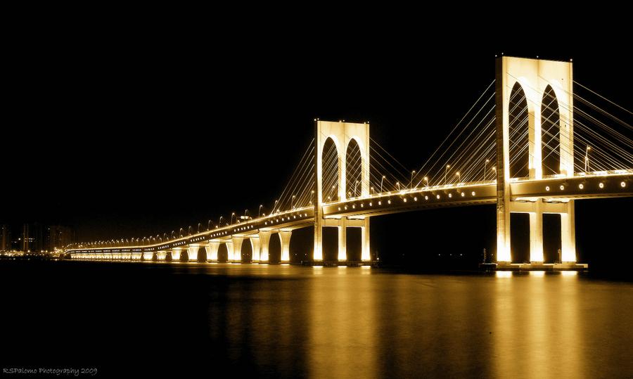 Sai Van Bridge Aomen at Night